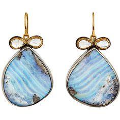 Judy Geib Women's Bow Drop Earrings ($3,300) ❤ liked on Polyvore featuring jewelry, earrings, accessories, blue, no color, blue earrings, 24 karat gold earrings, blue drop earrings, judy geib earrings and 24k jewelry