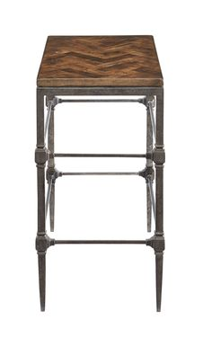 486-101T 486-101 Everett Chairside Table with Wood Top and Metal Base | Bernhardt W 14 D 24 H 26 Herringbone $972.50 #1Foot Rectangle