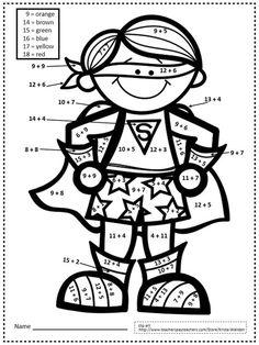 Superhero Classroom Theme, Math Classroom, Classroom Themes, Math Superhero, Go Math, Math Coloring Worksheets, Number Worksheets, Second Grade Math, Grade 2