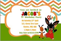 10 personalised birthday bing bunny invitations invites with envelopes 2nd Birthday Parties, 4th Birthday, Birthday Ideas, Bing Bunny, Bunny Party, Bunny Birthday, Paw Patrol Birthday, You Are Invited, Birthday Invitations