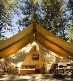 """Glamping , also known as """"glam"""" or luxury camping, is the newest alternative to renting out a hotel or resort for your big day. Matthew McConaughey and bride Camila Alves started the glamping wedding trend, erecting a luxury campground on their Texas ra Luxury Glamping, Go Glamping, Tent Camping, Camping Hacks, Outdoor Camping, Camping Gear, Camping Outdoors, Family Camping, Camping Equipment"""