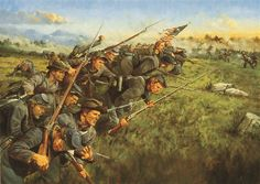 """""""The Last Full Measure"""" by Keith Rocco. The 1st Minnesota Infantry make their desperate charge on Cemetery Ridge at Gettysburg, July 2, 1863. Though outnumbered 4 to 1 they managed to single-handedly drive back Wilcox's Confederate Brigade, suffering an 82% casualty rate."""