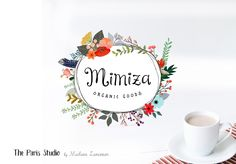 Hand Drawn Style Floral Wreath Logo Design for boutique logo, website logo, blog logo, creative business branding or small business logo.