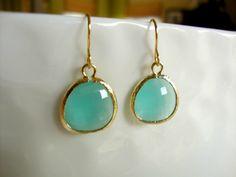 pacific blue earrings  simple modern gemstone by greenteajewels, $22.00