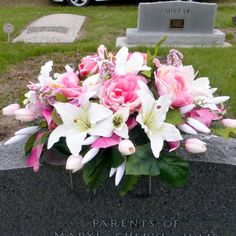 Sympathy Flowers, Memorial Flowers, Memorial Day Spray, Headstone spray, Headstone Saddle,  Funeral Flowers, Gravesite decoration, Headstone flowers, Cemetery flowers.   Memorial flowers in shades of pink and white just right for Mom's grave site this Memorial Day, ready to ship today.  This headstone spray will make a beautiful piece for your loved ones Headstone.   Made from pink roses, and tulips and large with pink ribbon running through out,  It sets on a Headstone Saddle which can b...
