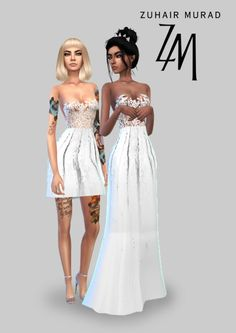 SIMSRUNWAY - Zuhair Murad Bridal SS 2018 As requested by anon, I've made a wedding dress inspired by this dress from Zuhair Murad's Bridal SS18 Collection. I've also made a short version of the same dress! Each dress comes in white, red and black...