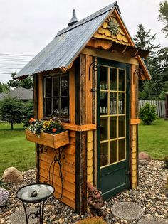 Sociable specialized shed building plans site here Greenhouse Shed, Garden Tool Shed, Garden Storage Shed, Storage Sheds, Outdoor Potting Bench, Cottage Garden Sheds, Wood Shed Plans, Barn Plans, Small Sheds