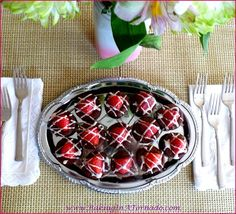 Strawberry Topped Brownie Bites, an elegant dessert for any occasion. Dense, chocolatey individual desserts topped with a fresh strawberry and a glaze. | Recipe developed by www.BakingInATornado.com | #dessert #chocolate #strawberry