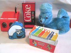 VINTAGE NOVELTY RADIO LOT BLUE POODLE COCA-COLA MACHINE CONCEPT MICKEY SMURF