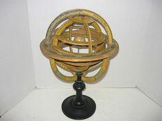 F.Palauzi Spanish armillary sphere 19th century,rare globe,paper wood