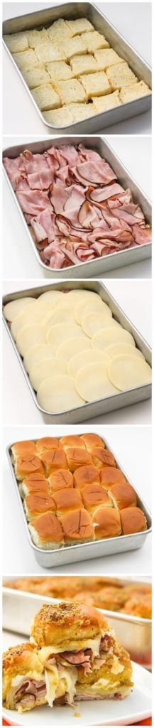 Sassy Tailgate Sandwiches--I would add Dijon mustard, but such a good idea for a finger food to feed a lot of people! Sassy Tailgate Sandwiches--I would add Dijon mustard, but such a good idea for a finger food to feed a lot of people! Slumber Party Snacks, Picnic Snacks, Picnic Dinner, Summer Picnic, Tailgate Sandwiches, Lunch Sandwiches, Ham Sliders, Hawaiian Rolls, Ham And Cheese