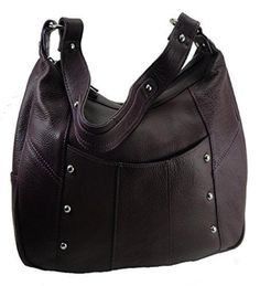 Leather Concealed Carry Gun Purse Left/Right Hand W/Locking Zipper Purple  #RomaLeathers #ShoulderBag