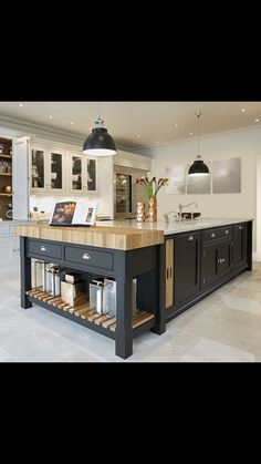 This black and grey kitchen features statement island with integrated oak chopping block and bespoke kitchen dresser for all your kitchen storage needs. Black And Grey Kitchen, Grey Painted Kitchen, Kitchen Paint, Home Decor Kitchen, Rustic Kitchen, Kitchen Interior, New Kitchen, Awesome Kitchen, Kitchen Grey