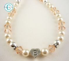 Flower Girl Necklace Initial Crystal Pearl by BridalFlipFlops, $25.00