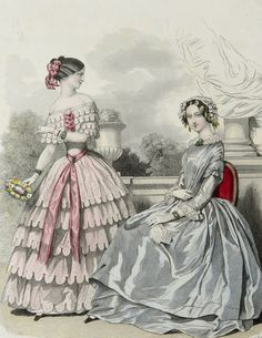 1848 Antique FASHION lithograph Two Ladies in by AntiquePrintsOnly, $19.50