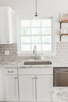 Lowes Kitchen Cabinets, White Shaker Kitchen Cabinets, Stock Cabinets, White Kitchen Caninets, Kitchen Backsplash White Cabinets, White Cabinets White Countertops, Off White Cabinets, Painting Kitchen Cabinets White, Kitchen Counters