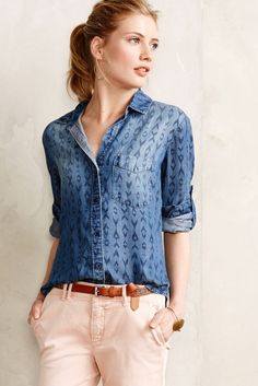 How fun is this patterned chambray shirt?