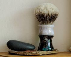 Shaving Brush - Moonstone and Black Peacock Resin Handle Hand-Made with Two Band…