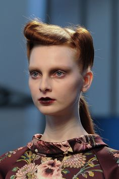 retro hair + vampy makeup at antonio marras fall 2014