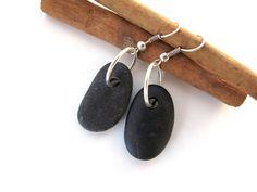 Beach Stone Jewelry Pebble Earrings - ZEN By StoneAlone - Natural Rock Jewelry, Stone Jewelry. $22.00, via Etsy.