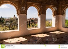 Architecture decorated and view the historic site of the Alhambra