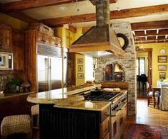 Kitchen island with stove and oven wood countertops Ideas Kitchen Island With Cooktop, Rustic Kitchen Island, Rustic Kitchen Design, Kitchen Island With Seating, Home Decor Kitchen, Island Stove, Kitchen Islands, Kitchen Ideas, Kitchen Tips