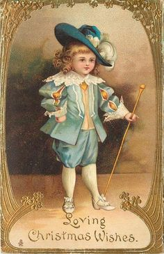 LOVING CHRISTMAS WISHES  boy in old style blue suit holding long stick facing partly right