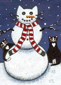 christmas snowman cat art