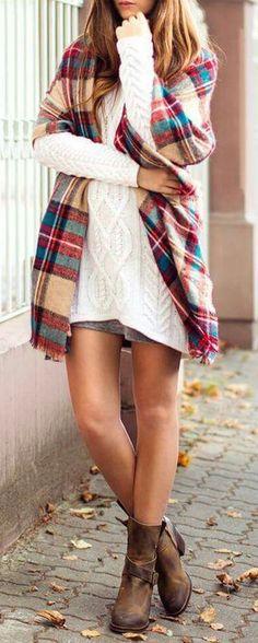 #fall #fashion / knit + blanket scarf
