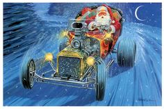 Hot Rods Christmas Cards - - One Pack of 10 Cards & Envelopes Vintage Christmas Cards, Christmas Art, Christmas Greetings, Xmas Cards, Cool Car Drawings, Donk Cars, Victorian Halloween, T Bucket, Winter Magic