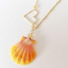 Sunrise shell heart charm necklace (N174)