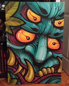 Finished this four eyed Oni today. x acrylic and spray on canvas. Graffiti Wall Art, Graffiti Drawing, Art Drawings, Art Asiatique, Design Tattoo, Samurai Art, Japan Art, Okinawa, Skull Art