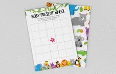 Baby Shower Games - Jungle Animals - Baby Present Bingo Jungle Animals, Baby Animals, Games Jungle, Baby Presents, Baby Shower Games, Bingo, A5, Etsy Store, Printing