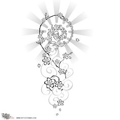 """Balancing karma    In this design we wanted to symbolize the idea of balancing karma. From a """"cloudy"""" period, the sun is coming back, and the two opposite spirals of the cherry branch represent this inversion. To the serene part corresponds the balance between opposites, fire and water, ying and yang.    Cherry flowers represent getting totally involved in every activity, playing the game of life fully, without fears.    Ideal for this tattoo would be a shaded colouring.    Requested by…"""