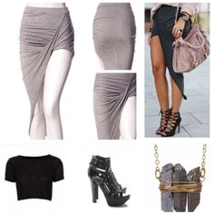 """Price Drop New Asymmetrical skirt HP Available NEW ✨This gorgeous asymmetrical skirt is 95% rayon 5% spandex; Color: Heather Gray. Ruched side detailing 1"""" elastic waist with raw hem  Price is Firm Please Bundle to Save Skirts Asymmetrical"""