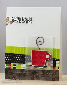 card cup cups coffee beans Handmade coffee card - Paper Smooches