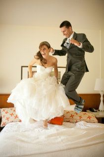 This is so me! Bride & Groom Jumping on the Bed