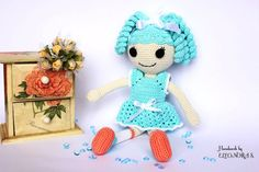 Lalaloopsy amigurumi toy / doll crochet gift for girl  blue dress and hair