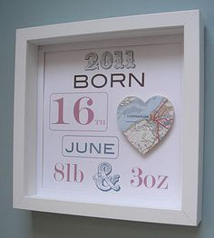 What a cute way to display newborn info