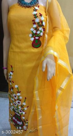 Cotton Suit: free COD WhatsApp for booking and enquiry Diy Embroidery Patterns, Kurti Embroidery Design, Hand Embroidery Dress, Embroidery Fashion, Kurti Designs Party Wear, Salwar Designs, Dress Neck Designs, Blouse Designs, Latest Punjabi Suits Design