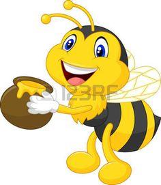 abeja caricatura: Abeja de dibujos animados con la miel cucharón