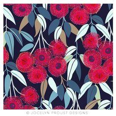 No roses, just red flowering gum blossom ❤️❤️❤️ © Jocelyn Proust 2018 Australian Wildflowers, Australian Native Flowers, Surface Pattern Design, Pattern Art, Print Patterns, Flower Prints, Flower Art, Doddle Art, Illustration Blume