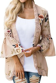 cf21dbfff0911f Hot Hanger Womens Floral Loose Bell Sleeve Kimono Cardigan Lace Patchwork Cover  up Blouse Top