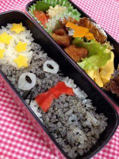 Twitter from @riekorin おはよう(^o^)/ 今日のお弁当は、黒猫のジジ弁♪ #kyaraben #obentoart