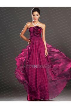 Chiffon Flower A-line Prom Dress