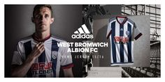 The new WBA Home Kit returns to traditional stripes, while the new West Brom Away Kit features the unique calligraphic-style WBA logo. TLCBET sponsors the striking West Bromwich Albion Kits. West Bromwich, New West, Football, Kit, Baseball Cards, Sports, Adidas, Soccer, Hs Sports