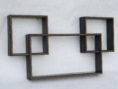 60s vintage mod cubes modular shadow box shelves for displaying nick-nacks as wall art
