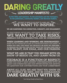 "Celebrating back-to-school with the Daring Greatly ""Leadership Manifesto""  - my blog - Ordinary Courage #brenebrown"