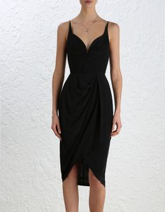 Silk Drape Dress, from our Fall 16 collection, in Black silk crepe de chine. Curved wire neckline with tucks. Fully boned bodice with shoestring straps. Asymmetric draped skirt and curve hem. Fully lined with centre back invisible zip closure.