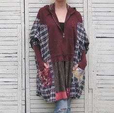 Upcycled Hoodie Kaftan or Poncho Upcycled Clothing by AnikaDesigns Diy Clothes, Clothes For Women, Dress Card, Sweater Refashion, Altered Couture, Knit Shirt, Flannel Shirt, Altering Clothes, Recycled Fashion